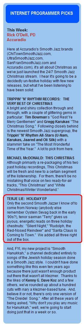 PR- Groove Jazz Radio - Internet Radio Review - Holiday EP